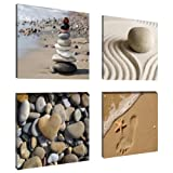 Visario 6902 Set de 4 Photos sur Toile Spa Sand 4 x 20 x 20 cm