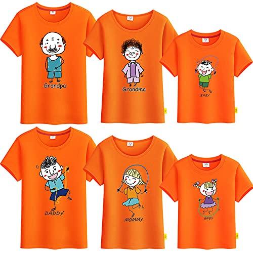 SANDA T-Shirt para Mujer,Vestido de Verano para Padres y niños, una Camiseta de Manga Corta de Cinco a Seis Abuelas Abuela, Toda la Familia bendice a la Familia-Naranja_Chica 130