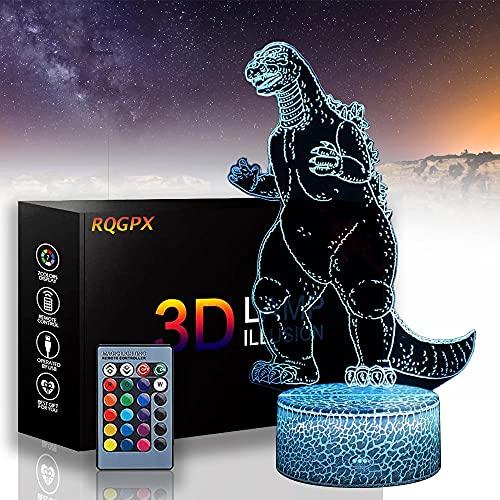 Godzilla B LED 3D luz de noche, luces de noche para niños, 16 colores, cambio automático, interruptor táctil, decoración de escritorio, regalo de cumpleaños con mando a distancia