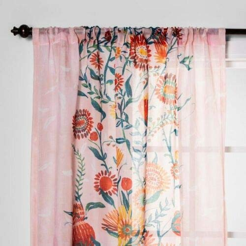 """Opalhouse Floral Daisy Light Filtering Curtain Panel Pink 54""""x 84"""""""