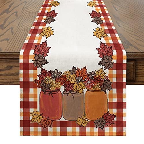 Artoid Mode Kürbis - Runner da tavolo, stagionale autunnale, per interni ed esterni, decorazione per tavolo da pranzo, decorazione per la casa, feste, 40 x 140 cm, 10 pezzi