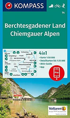 KOMPASS Wanderkarte Berchtesgadener Land, Chiemgauer Alpen: 4in1 Wanderkarte 1:50000 mit Aktiv Guide und Detailkarten inklusive Karte zur offline ... Skitouren. (KOMPASS-Wanderkarten, Band 14)