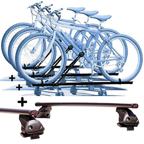 PROPOSTEONLINE Tre Portabici da Tetto Realizzato per Opel Karl (2015 in Poi) 3X Porta Biciclette universali in Acciaio Incluso 2 Barre