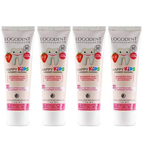LOGODENT Kinder Zahngel Erdbeere (4x50 ml), natürliche Wirkstoffkombination aus Erdbeer-Aroma und Bio-Kamille, Bio Zahnpasta, Vegan, Fluoridfrei, Naturkosmetik