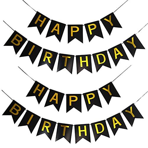 Banderines de cumpleaños, pancarta de cumpleaños con letras brillantes, ideal para fiestas de cumpleaños en interiores y exteriores (rosa)