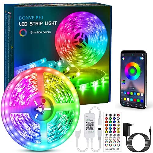Bonve Pet LED Strip, Bluetooth RGB LED Streifen, Farbwechsel LED Lichterkette 6M mit Steuerbar via App, 16 Mio. Farben, Fernbedienung, Sync...