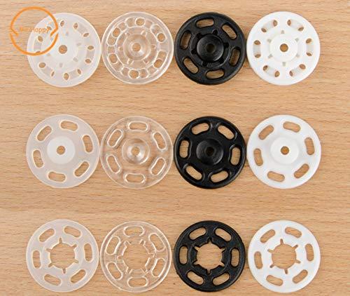 N / A 100 piezas de 7 mm/10 mm/13 mm/15 mm/18 mm/21 mm pequeños sujetadores de plástico ABS botón de presión, accesorio de costura, blanco, 15 mm 100 piezas