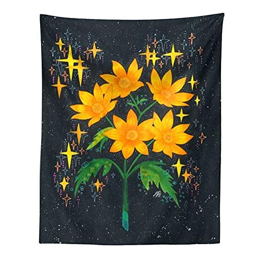 KHKJ Tapiz psicodélico Cielo Estrellado Flor Planta decoración de Pared tapices Hippie decoración Boho decoración del hogar Mural A8 200x150cm