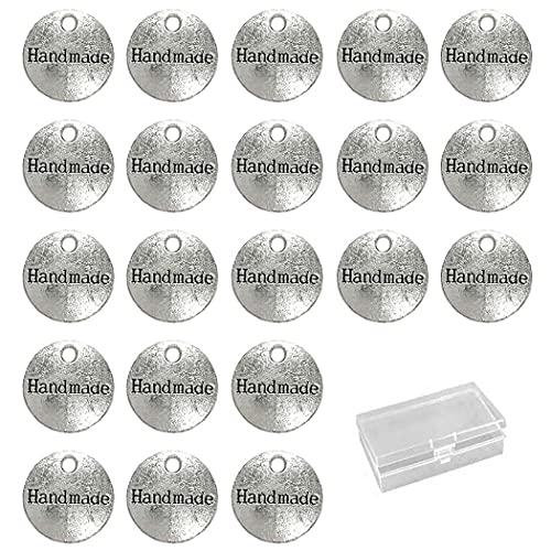 Aabellay 60 piezas de aleación de metal hecho a mano metal etiquetas hechas a mano colgante abalorio para hacer joyas, manualidades, hallazgos de regalo – 14 mm – plata redonda