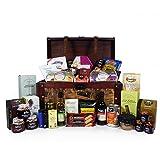 Grand Gourmet Large estilo de madera de estilo de madera cesta de alimentos con 40 artículos de gourmet de alimentos - Ideas de regalos para el cumpleaños, aniversario y felicitaciones