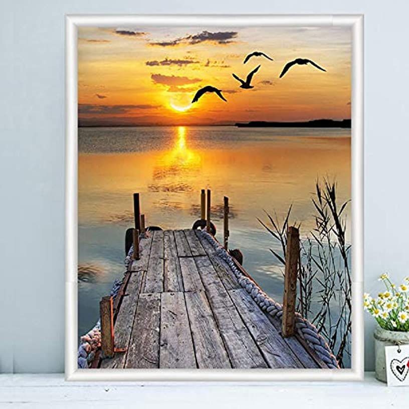 Farsla Wharf and Sunset Seagull 5d DIY Round Diamond Painting Animal Picture Kids Diamond Embroidery Kits Mosaic Painting for Wall Decor 12X16inch