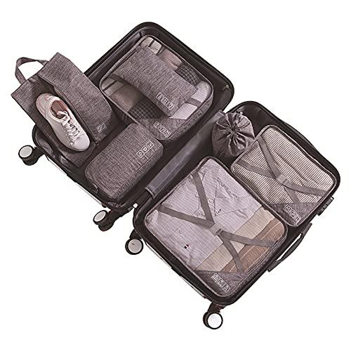 Parshall Bolsa de almacenamiento de artículos de aseo multifunción bolsa de lavado portátil organizador de acabado de ropa interior con cubos impermeables cesta de maleta, Gris Profunda,