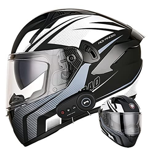 Casco integral de motocicleta Bluetooth D.O.T Cascos de protección para adultos Scooter Ciclomotor con micrófono oculto de lente antivaho doble (Tormenta gris oscuro) (61~62cm XL)