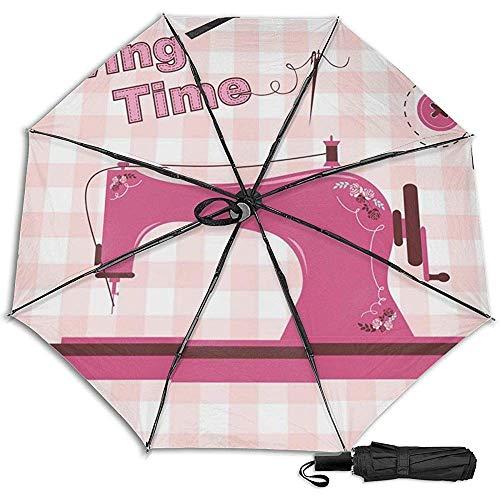 Máquina de Coser Rosa Vintage Manual Plegado Triple Plegable Paraguas de Lluvia de Viaje Protección UV Fuerte Resistente al Viento