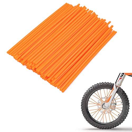 PSLER 72 PCS Orange Spoke Skins Wheel Rim Spoke Skins Covers Trim Wrap Cover Decoration Protector Pipe Motorcycle Motocross Pit Dirt Bike