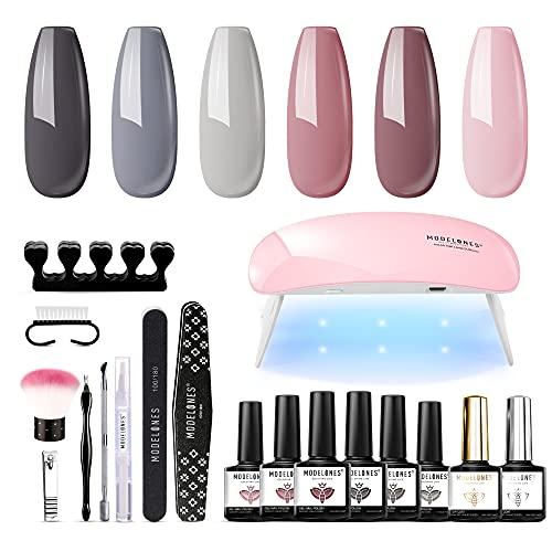 Gel Nail Polish Kit with U V Light 6Pcs Pink Black Gray Nude Gel Nail Polish Set with 6W Nail Dryer Lamp, Base and Gel Top Coat, Nail Tools, Portable Gel Nail Starter Kit Professional by Modelones