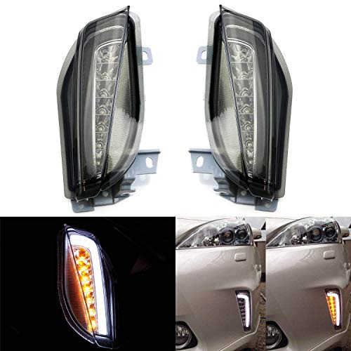 iJDMTOY Smoked Lens LED DRL/Turn Signal Lights Compatible With 12-15 Toyota Prius V (ZVW40/41 ONLY), JDM Style Direct Fit Lower Bumper Lights Assembly