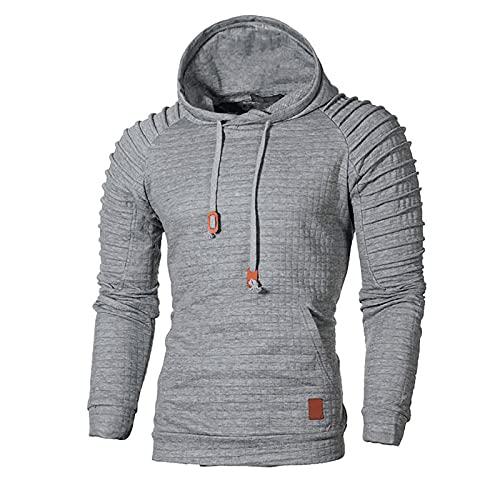BGUK Sudadera con capucha para hombre, de manga larga, informal, a cuadros, para otoño e invierno, gris, XL