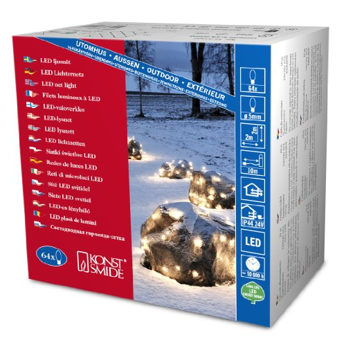 Konstsmide 3749-200 Filet Lumineux 64 LED Blanc + Câble Noir 24 V