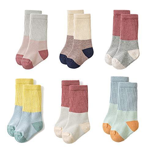 Toddler Baby Boys Girls Socks - Cotton Crew Socks for Baby, Yellow, Size 1-2T