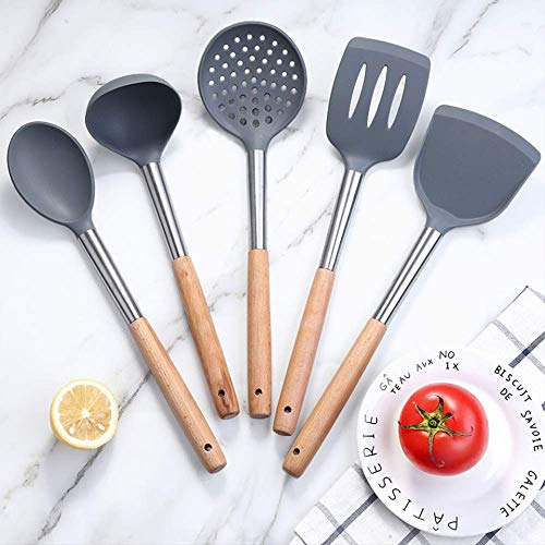 Flexible Silicone Spatula Kitchen Utensil Egg Cookie Nonstick Turner Pancake With Wooden Handle
