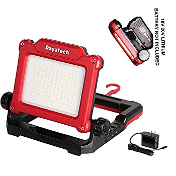 DAYATECH Rechargeable Cordless LED Work Light 3500 LM 25 W Compatible with DEWALT Milwaukee MAKITA Bosch Black&Decker Porter Cable Stanley Power Tool 18-21V Lithium Ion Battery  Light Only