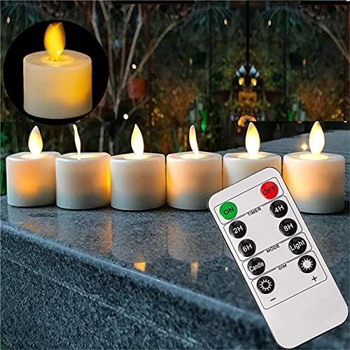 Gidenfly Velas LED sin llama, 1.461.461.89 cm, juego de 6 pilares de cera real, control remoto de 10 teclas con función de temporizador de 24 horas para votivo, boda, cumpleaños