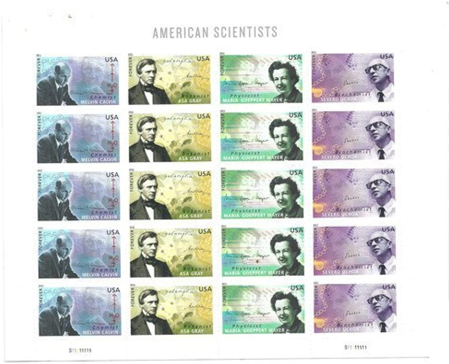 American Scientists 2011 Sheet of 20 Mint US Postage Stamps 4541-4544 by USPS