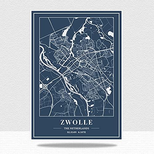DRTWE Jigsaw Puzzels voor Volwassenen 1000, Nederland Zwolle Blue City Map Puzzels DIY Decomprimerend Intellectueel Educatief Speelgoed Uitdaging Puzzel Games Voor Volwassen Kinderen