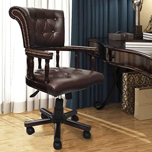 vidaXL Bürodrehstuhl Chefsessel Schreibtischstuhl Drehstuhl Bürosessel Computerstuhl Sessel Drehbarer Bürostuhl Büromöbel Ledermischgewebe Braun