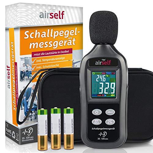 Digitales Schallpegelmessgerät mit buntem Display, 35-135 dB, zur Schallpegel-Messung, inkl. Thermometer und Schutzhülle
