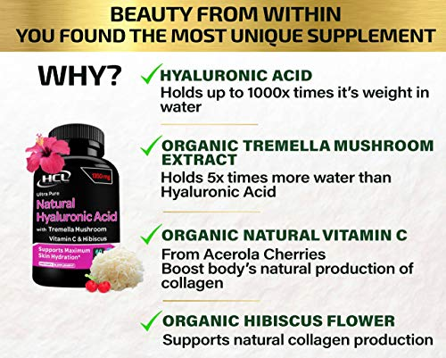 51u1DMKZfQL. SL500  - Natural Hyaluronic Acid Supplement 5X Stronger Hydration Pills from Pure Tremella Mushroom with Vitamin C & Hibiscus - Anti-Aging Skin Supplement Anti Wrinkle Capsules
