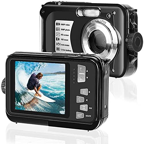 Unterwasserkamera wasserdichte Digitalkamera - 16X Digitalzoom Wasserdicht Kamera - 2.7K FHD Action-Kamera - 48 MP Unterwasser Kamera mit Zwei Bildschirmen - Anti Shake Unterwasserfotografie (Schwarz)