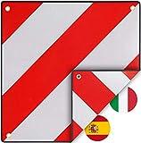 PLANGER- Warntafel Italien und Spanien 2in1 (50 x 50 cm) - Reflektierendes Warnschild rot weiß für Heckträger u Fahrradträger