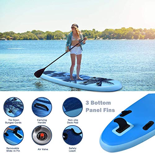 """Product Image 8: Goplus Inflatable Stand Up Paddle Board, 6.5"""" Thick SUP with Premium Accessories and Carry Bag, Wide Stance, Bottom Fin for Paddling, Surf Control, Non-Slip Deck, for Youth and Adult (Blue, 9.8ft)"""