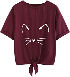 Foowni Womens Casual Soild Cat Print Short Sleeve Tie Up Daily Tee Blouse T-Shirt Tops