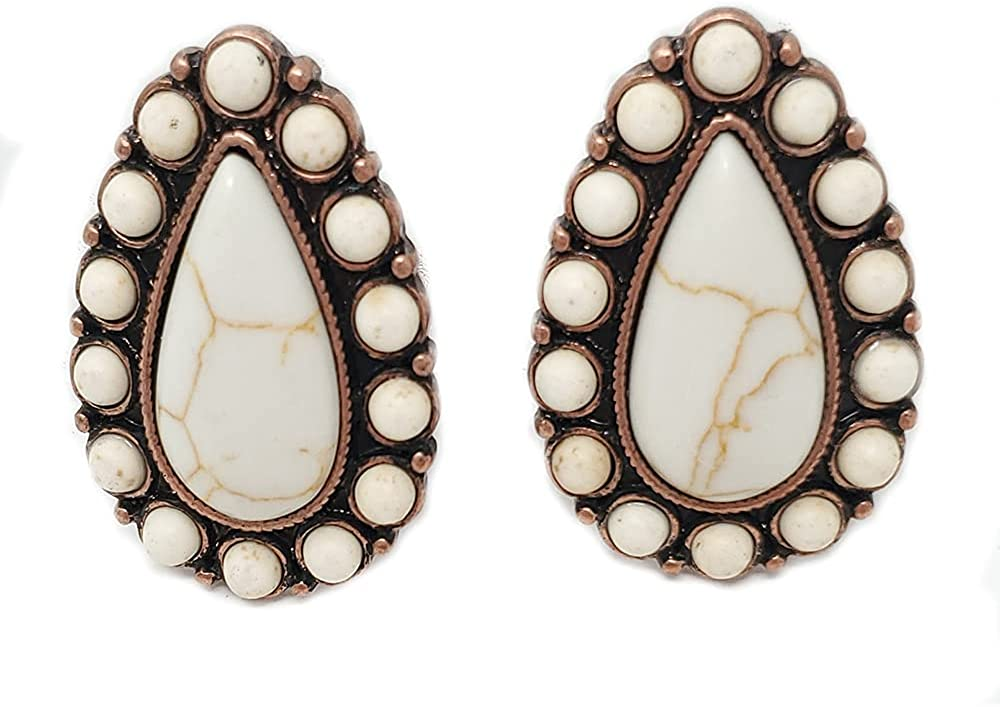 Emulily Western Turquoise Tear Drop Squash Blossom Clip-ons Earrings Navajo