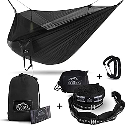Everest Double Camping Hammock with Mosquito Net | Bug-Free Camping, Hiking, Backpacking & Survival Outdoor Hammock Tent | Reversible, Integrated, Lightweight, Ripstop Nylon | Black/Black/Net Black