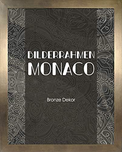 Homedeco-24 Monaco MDF Bilderrahmen ohne Rundungen 61 x 91 cm Größe wählbar 91 x 61 cm Bronze Dekor mit Acrylglas klar 1 mm