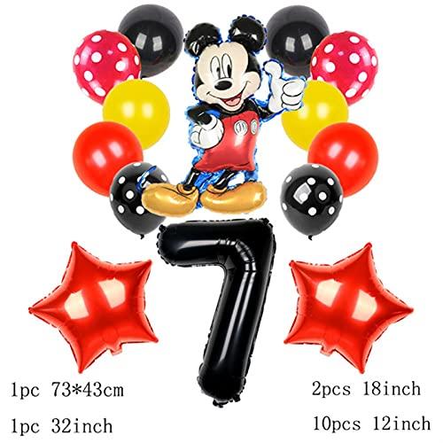 gzynyl Globos 13pcsmouse Foil Balloons Fiesta de cumpleaños Decoraciones para niños Baby Shower 32 Pulgadas Número Bola Polka Dot Latex Juguete (Color : Mickey 7)