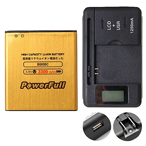PowerFull B600BC Li-ion Battery Long Lasting 3300 mAh B600BU Durable for Samsung Galaxy S4 SCH-R970C + Rapid Charger Universal Travel Wall Battery Charger USB Port LED Indicator