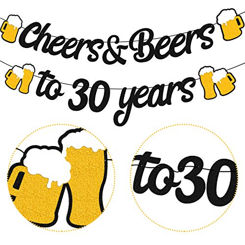 30th Birthday Decorations Cheers and Beers to 30 Years Banner for Men Women 30s Birthday Backdrop Wedding Anniversary Party Supplies Black Glitter Decorations Pre-Strung
