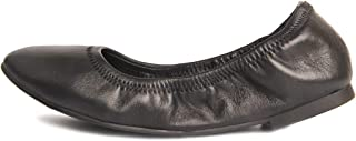 GUGUYeah Women's Genuine Leather Foldable Ballet Flats, Comfort Casual Ballerina Flats Shoes with Round-Toe Black US Size 7