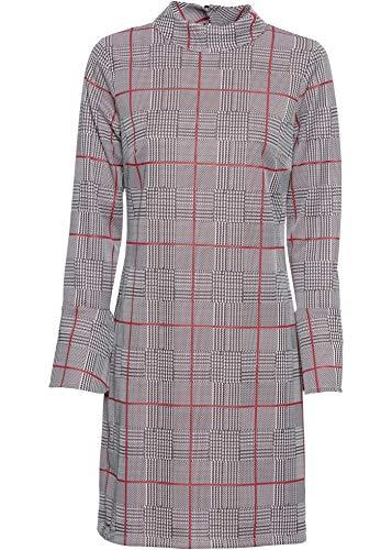 bonprix Kurzes Kleid in gerader Schnittform weiß/schwarz/rot kariert 90 cm in Größe 36/38 42 für Damen