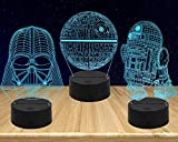 Night Lights for Kids-3D Illusion Star Wars Night Light Three Pattern and 7 Color Change Decor Lamp with Remote Control for Kids Best Gifts