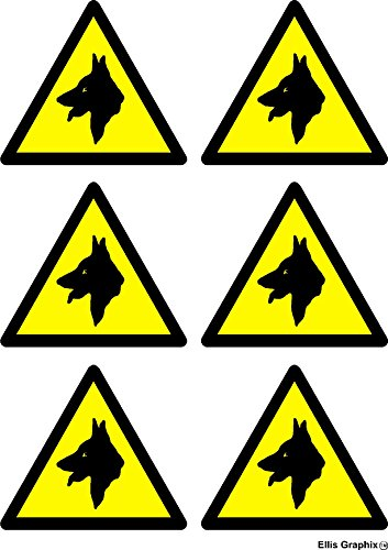 Warning Guard Dogs Security Stickers Set of 6 Beware of the Dog Shed Garage Car Van Small Stickers Signs by Ellis Graphix (TM)