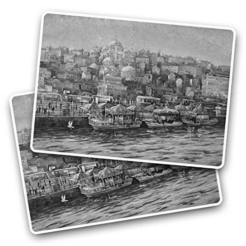 Impresionante pegatinas rectangulares (juego de 2) 7,5 cm – Vintage Estambul pintura Turquía calcomanías divertidas para portátiles, tabletas, equipaje, libros de chatarra, frigorífico, regalo genial #35333