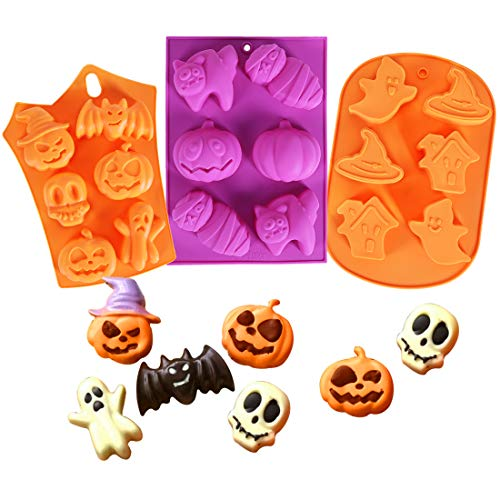 Homyplaza 3 PCS Halloween Silicone Baking Mold Muffin Mold with Pumpkin, Evil, Skull, Ghost - Perfect to Make Pudding, Ice Cube, Chocolate