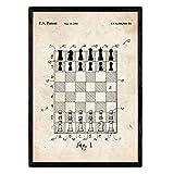 Nacnic Poster con Patente de Tablero y fichas. Lámina con diseño de Patente Antigua en tamaño A3 y con Fondo Vintage