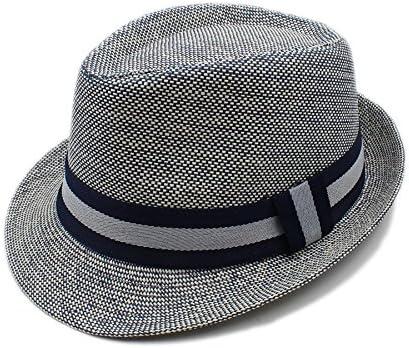 TX GIRL Straw Fedora Panama Sun Hat Men Women Short Brim Summer Linen Beach Sun Hat Vacation Fashion Costume (Color : Gray, Size : 56-58CM)